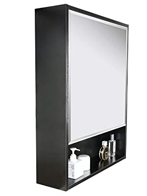 eclife Storage Bathroom Medicine Cabinet  Mirror Storage Wood Adjustable Wall Mounted Mirror Cabinet