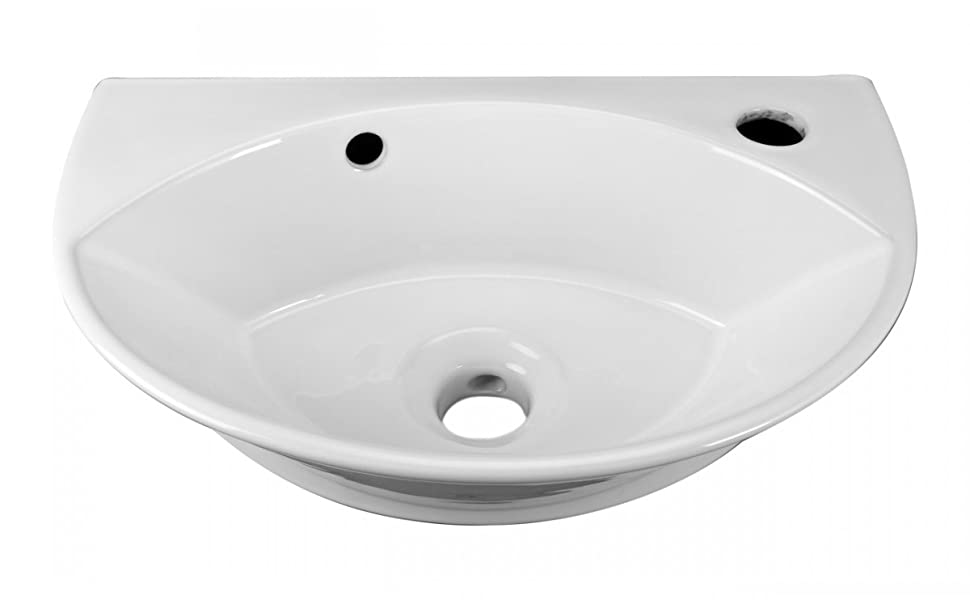 Juniper Wall Mounted Bathroom Sink Small White Heavy Duty Porcelain With Overflow And Pre Drilled Single Faucet Hole Oval Modern Space Saving Design 17 1 8 Inch Renovators Supply Manufacturing Amazon Com