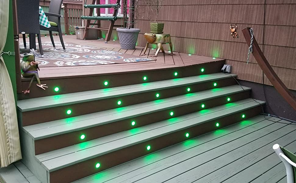 Amazon Com Fvtled Low Voltage 10pcs Multi Color Rgb Led Deck Lights Kit 1 3 4 Stainless Steel Recessed Wood Outdoor Yard Garden Decoration Lamp Patio Stairs Landscape Outdoor Step Lighting Home Kitchen