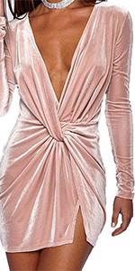 velvet ruched deep v neck long sleeve split hight waist solid bodycon mini dress for women