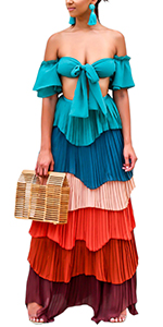 muti color strapless tiered ruffle pleated chiffon crop with maxi long skirt set dress