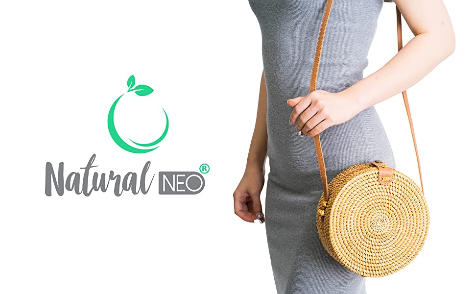 64e3d5b2ab8f21 Amazon.com  Handwoven Round Rattan Bag Shoulder Leather Straps ...