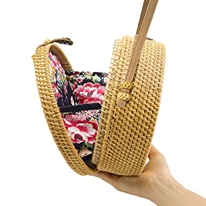 Handwoven-Round-Rattan Bag-Shoulder-Leather Straps-Natural-Chic-Hand-NATURALNEO