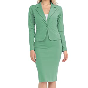 green one button jacket and skirt business suit set for women
