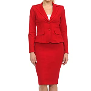 red two button blazer and skirt business suit set for women