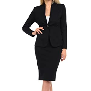 black one button blazer and pencil skirt suit set for women.