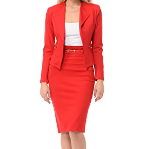 red business skirt suit set for women