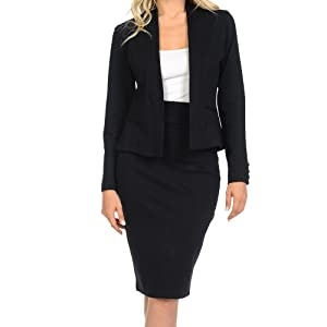 open blazer and pencil skirt business suit set for women