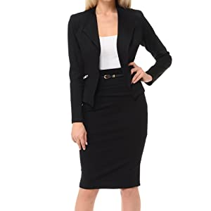 black jacket and skirt business suit set for women