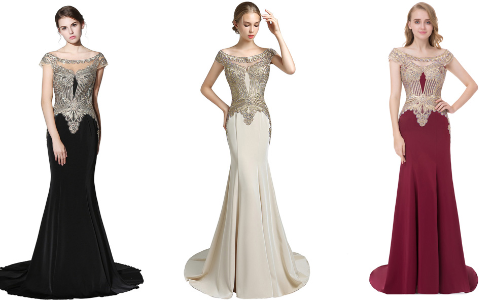 Sarahbridal womens formal prom dresses long 2019 sequin applique