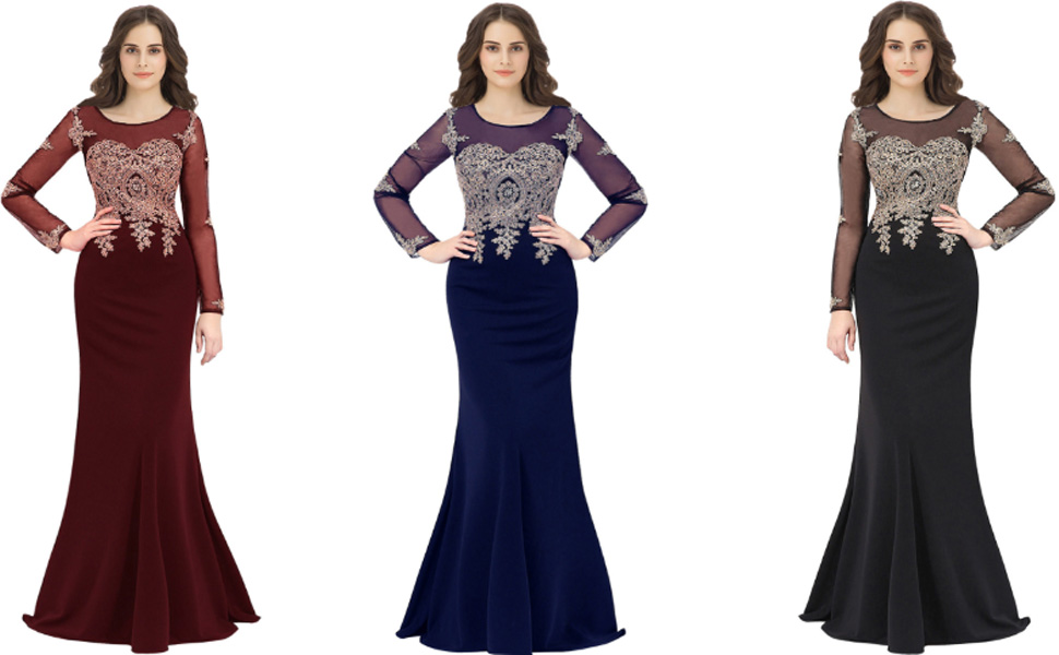 Long Sleeve Sheer Neck Mermiad Prom Evening Dresses