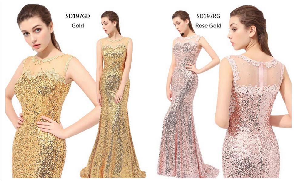 Amazon.com: Sarahbridal Women\'s Formal Prom Dreeses Sequin ...