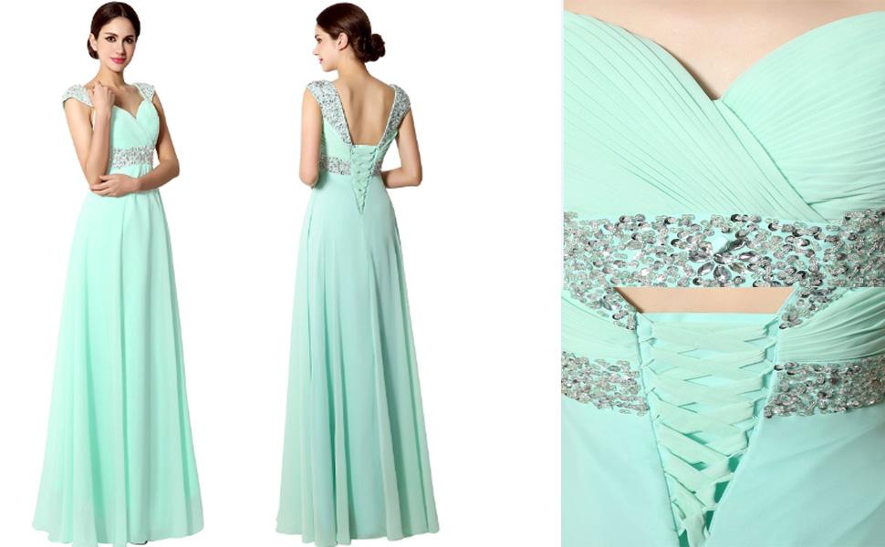 c7164f91523 Amazon.com  Sarahbridal Women s Beaded Prom Dress Long 2019 Chiffon ...