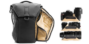 30L Backpack with suggested load for two cameras and three lenses