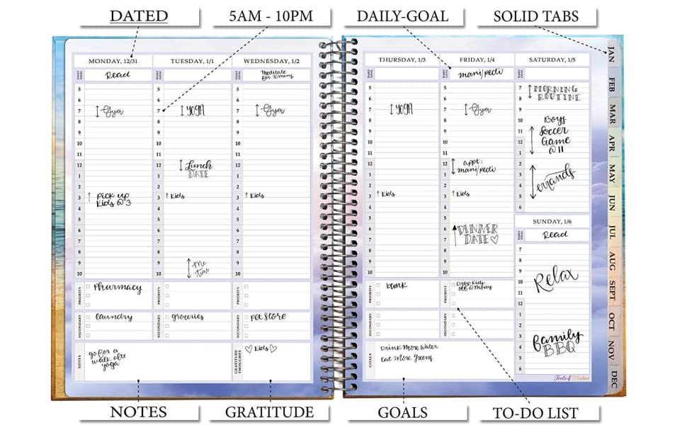 Planner 2019 8.5 x 11 with Stickers - Tools4Wisdom