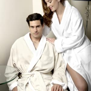 man and woman in robe
