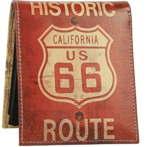 """""""route 66"""" """"route 66 mens wallet"""" """"california wallet"""" """"united streets of art"""""""