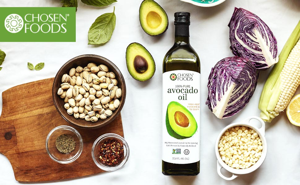 Chosen Foods 100% Pure Avocado Oil Non-GMO High Heat Fry Bake Cook Dressing Marinade Heart Healthy