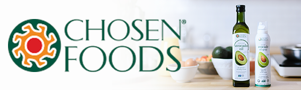 Chosen Foods Avocado Oil 500 F smoke point healthy monounsaturated fats high heat cooking baking
