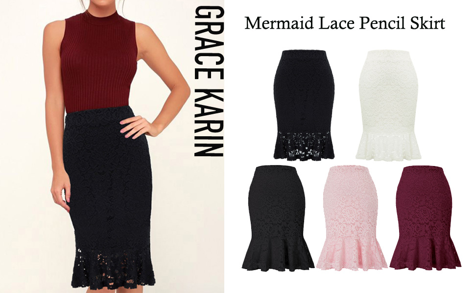 8c27f1dfced9 GRACE KARIN Womens Elastic Waist Wear to Work Lace Mermaid Pencil ...