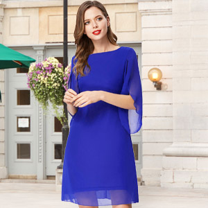 Women Loose Chiffon Dress 3/4 Sleeve Evening Dress for Cocktail Party