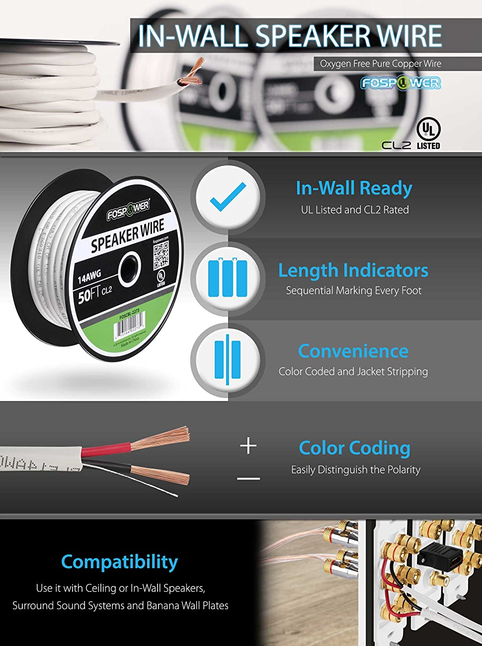 Fospower 16 Gauge Speaker Wire 50ft Cl2 Rated 16awg 2 Wiring Color Coding Fospowers Premium In Wall Is Used To Connect Power Amplifiers And Audio Receivers Speakers Home School Church Or Business