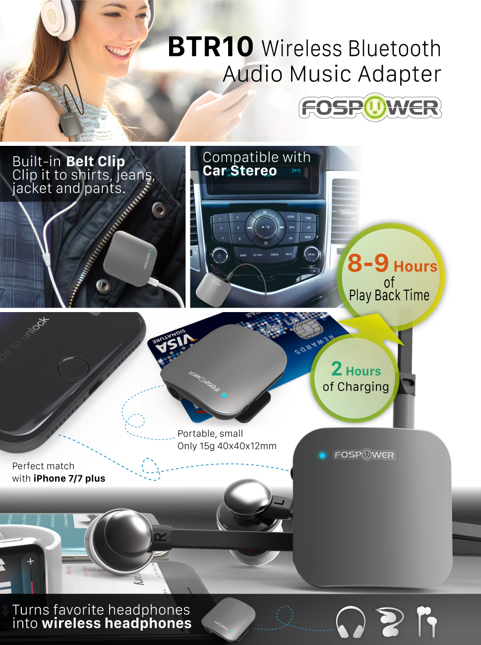 Amazon.com: Bluetooth Receiver, FosPower BTR10 Portable 4