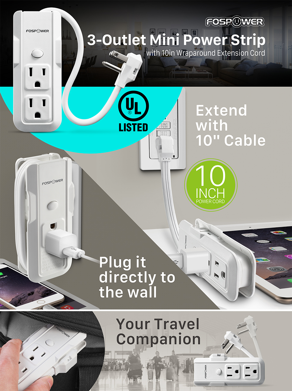 Amazon Com Fospower 3 Outlet Mini Power Strip With 10inch