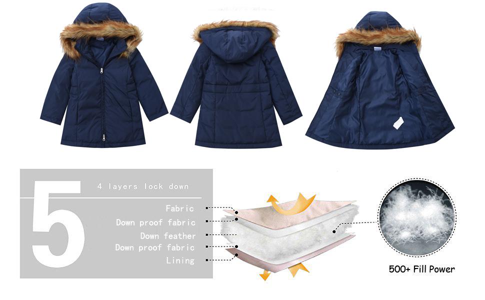 c0e4a99ce M2C Girls Faux Fur Hooded Long Puffer Duck Down Jacket Parka