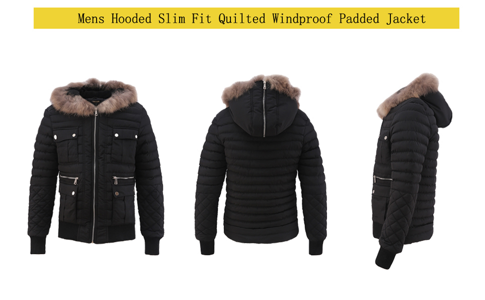 Fubotevic Men Winter Hoodie Slim Warm Zip Up Contrast Down Jacket