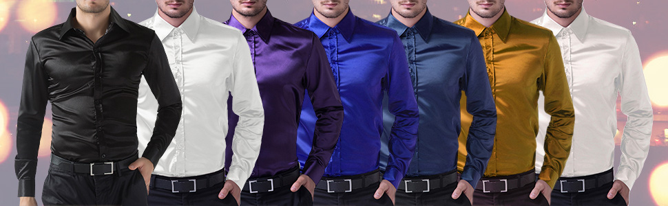 0d0bfbe79 PAUL JONES Men's Slim Fit Silk Like Satin Luxury Dress Shirt at ...