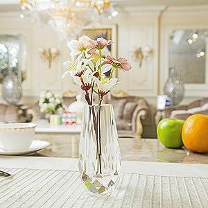 Amazoncom Donoucls Mini FlowerBud Crystal Vase Decorative - Clear floor vase with flowers