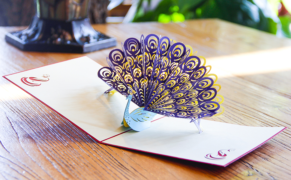 Amazon Paper Spirit Pop Up Birthday Card Peacock 3d Card For