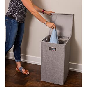 laundry hamper clothes dirty bin basket single baby compact grey decorative
