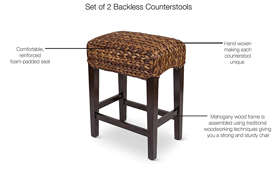Enjoyable Bird Rock Home Seagrass Backless Counter Stool Set Of 2 Handwoven Natural Fibers Fully Assembled Short Links Chair Design For Home Short Linksinfo