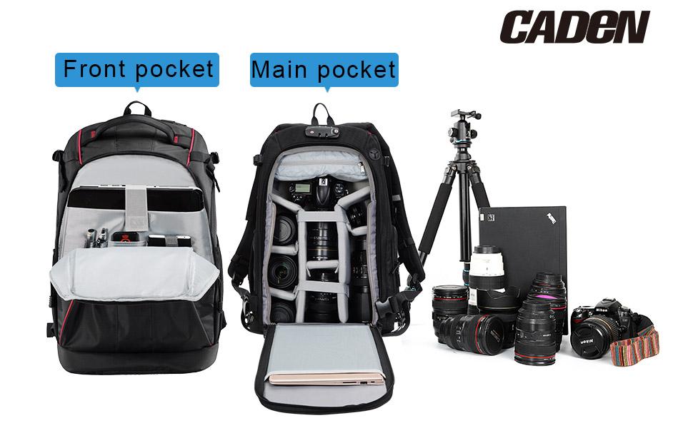 Large capacity camera backpack