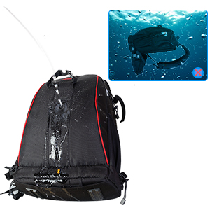 Waterproof material but please do not put the camera backpack directly into water.