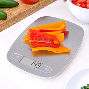 Digital Kitchen Scale/Food Scale from Greater Goods - Extra Battery Included, Slim (Stainless Steel)