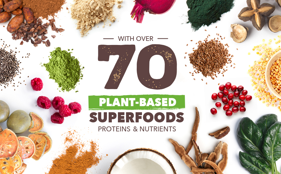 Sueprfoods, plant based, proteins, nutrients, camu camu, chia, flax, chlorella, spinach, coconut