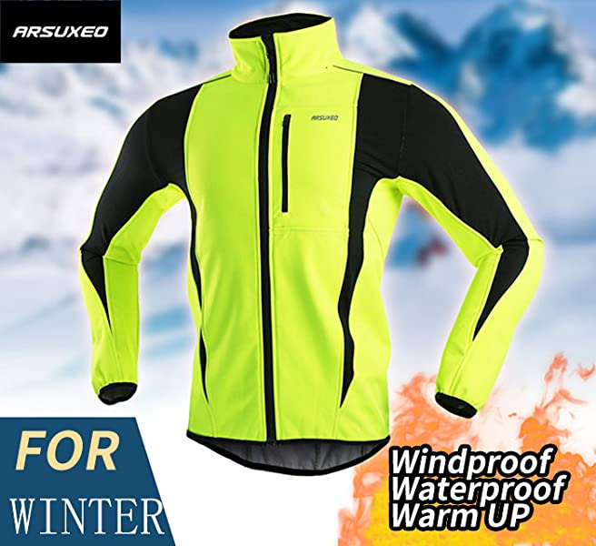 Arsuxeo Cycling Winter Fiber Blends Thermal Warm Jacket Windproof Casual Riding