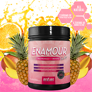 enamour, revlabs, rev labs, pre workout, vegan, bcaa, cla, weight loss, for her, beta alanine