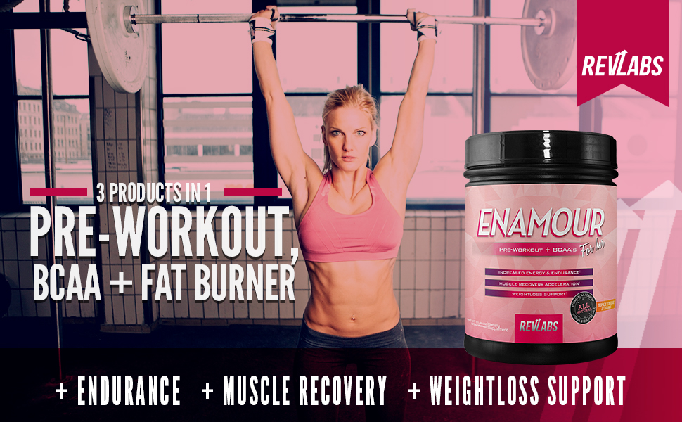 Enamour, pre workout for women, fat burner, bcaa, pre workout, weight loss, vegan, revlabs, rev labs