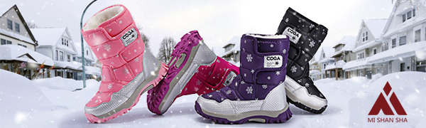 girls winter snow boots warm water resistant  fur