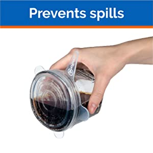 Image of a container with a stretch lid being tipped with no spills, text: prevents spills