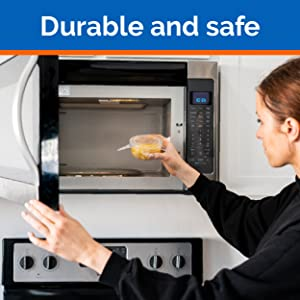 Woman putting food container in the microwave, text: durable and safe