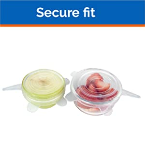 5 different sized food containers with Stretch N' Seal lids, text: secure fit