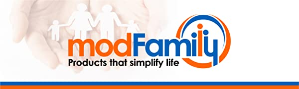 """Blue & orange ModFamily logo with phrase """"products that simplify life,"""" image of paper chain family"""