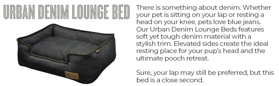 pet play urban denim lounge bed soft tough material elevated sides resting head