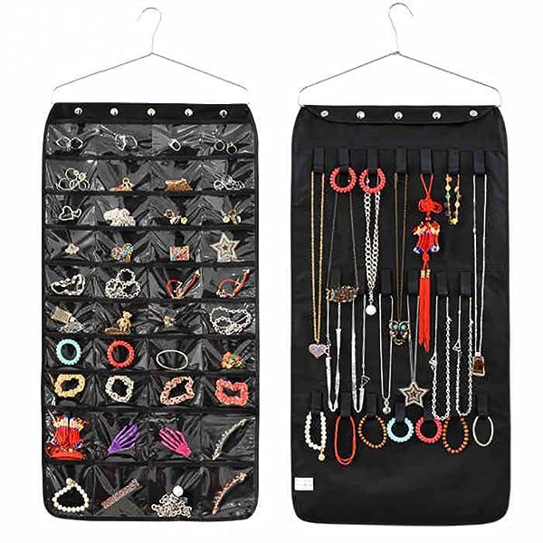 Hanging Jewelry Organizer, Dual Sided Closet Organizers , Earrings Bracelet Necklace Socks Pantyhose Storage Display Bag (Black (40 Pockets & 20 Hook-and-Loop Tabs))