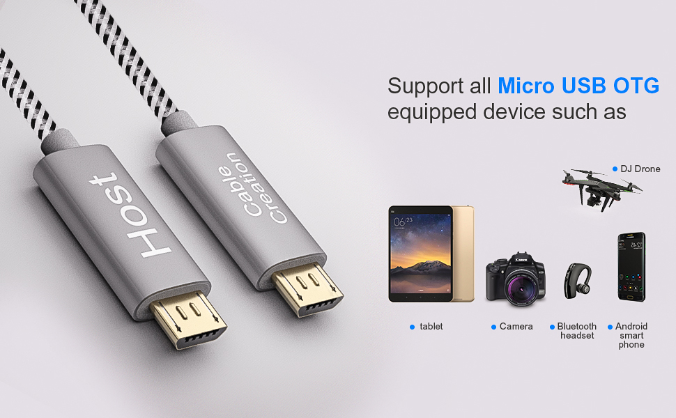 PRO OTG Cable Works for Micromax Q382 Right Angle Cable Connects You to Any Compatible USB Device with MicroUSB